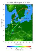 Flugroute des Sondermessfluges CARIBIC mit dem Lufthansa-Airbus Leverkusen über Skandinavien durch die Aschewolke. Max-Planck-Institut für Chemie