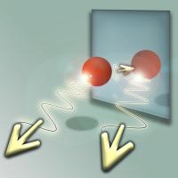 Kommt das Licht direkt vom Atom oder von seinem Spiegelbild? Ein Spiegel erzeugt eine quantenmechanische Überlagerung. Copyright: TU Wien