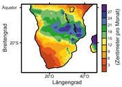 Niederschlagsmengen im südlichen Afrika angegeben in Zentimetern pro Monat im Südsommer (Dezember bis Februar) Abb.: MARUM, Universität Bremen