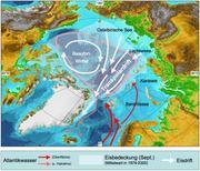 Die sibirische Laptewsee und die Framstraße zwischen Spitzbergen und Grönland sind durch die Transpolardrift verbunden. Auch hier sind bereits Auswirkungen des Klimawandels zu beobachten. Grafik: R. Spielhagen, AdW Mainz/GEOMAR