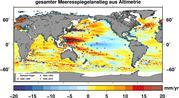 Keine Entwarnung: Gesamte gemessene Meeresspiegeländerungen 2002-2009. (c) Grafik: Roelof Rietbroek/Uni Bonn
