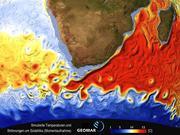 Simulierte Temperaturen und Strömungen (Momentaufnahme) um Afrika. Simulation und Darstellung: GEOMAR