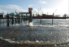 Der Hamburger Fischmarkt steht schon heute bei Sturmfluten unter Wasser. Quelle: HZG