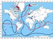 Weltkarte mit Standorten der untersuchten Meeresbodenproben und der globalen Meereszirkulation. Abbildung: Albert Müller