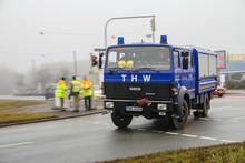 Das THW unterstützte die Evakuierungsarbeiten. Rund 8400 Menschen mussten ihre Wohnungen und Häuser verlassen. Quelle: THW/Stefan Mühlmann