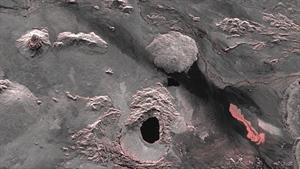 Lavaaustritt im Holuhraun-Lavafeld, 40 Kilometer nördlich des Zentralvulkans Bardarbunga Quelle: DLR