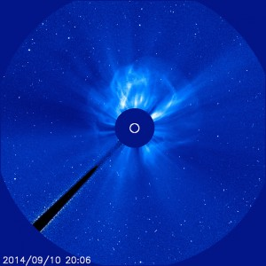 The CME associated with a Sept. 10, 2014, X1.6 flare is visible in this image from the joint European Space Agency and NASA's Solar and Heliospheric Observatory. Image Credit:  ESA&NASA/SOHO