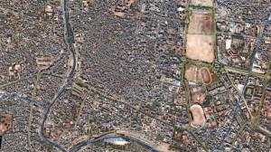 """Das Bild zeigt den südlichen Teil des historischen Kathmandus. Die Aufnahme ist am 26.01. im Rahmen des Projekts """"Mountain Wave"""" entstanden und dient nun als Referenzkarte für Hilfskräfte vor Ort.   Quelle: DLR (CC-BY 3.0)"""