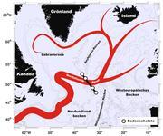 Schematische Darstellung des Nordatlantikstroms im subpolaren Nordatlantik und Position der veranker ... Quelle: Institut für Umweltphysik / Uni Bremen