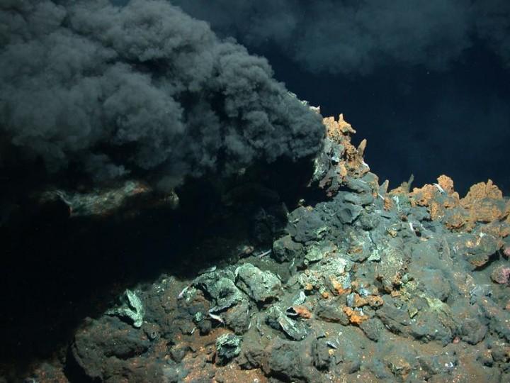 """Aus diesem """"Schwarzen Raucher"""" am Mittelatlantischen Rücken in fast dreitausend Metern Wassertiefe h ... Quelle: MARUM − Zentrum für Marine Umweltwissenschaften, Universität Bremen"""