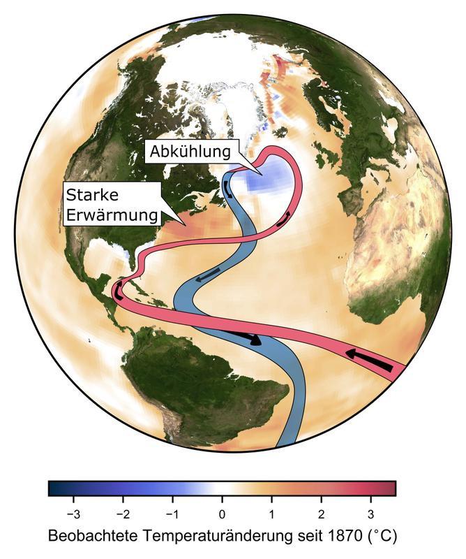 Die vom Menschen verursachte globale Klimaveränderung erwärmt weltweit die Ozeane. Im Nordatlantik bei Grönland zeigt sich aber eine Abkühlung - das Golfstromsystem schwächt sich ab. Quelle: Caesar/PIK