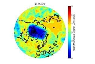 Ozongehalt am 29. März 2020 (Grafik: Peter von der Gathen)